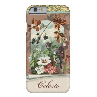 Vintage floral con el pájaro azul personalizado funda de iPhone 6 barely there
