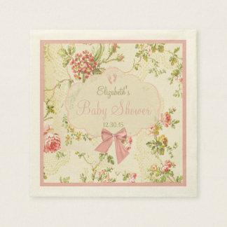 Vintage floral con la fiesta de bienvenida al bebé servilleta desechable