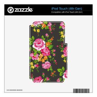 Vintage floral con los rosas rosados calcomanía para iPod touch 4G