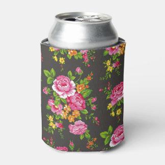 Vintage floral con los rosas rosados enfriador de latas