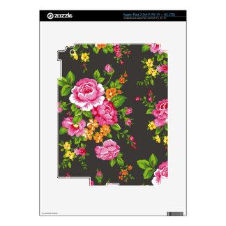 Vintage floral con los rosas rosados iPad 3 skins