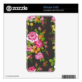 Vintage floral con los rosas rosados skins para iPhone 4
