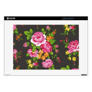 Vintage floral con los rosas rosados skins para portátil