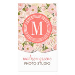 Vintage Floral Coral Peach Girly Flowers Business Cards