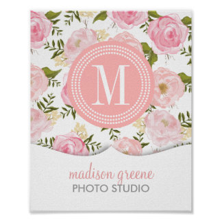 Vintage Floral Coral Peach Girly Flowers Poster