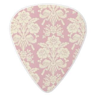 vintage,floral,coral,pink,rustic,damask,victorian, white delrin guitar pick