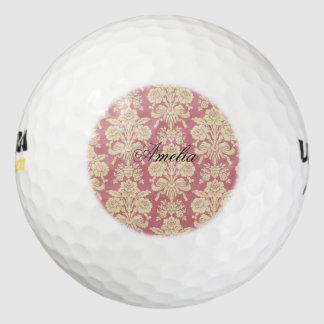 vintage,floral,coral,pink,rustic,damask,victorian, pack of golf balls