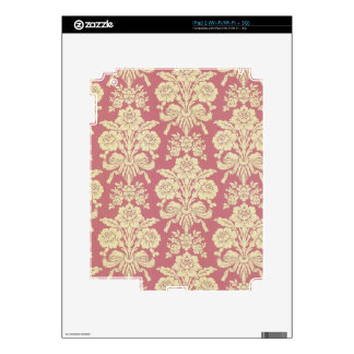 vintage,floral,coral,pink,rustic,damask,victorian, decal for the iPad 2