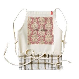vintage,floral,coral,pink,rustic,damask,victorian, zazzle HEART apron