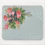 Vintage floral, cordón, pájaro azul Mousepad del V