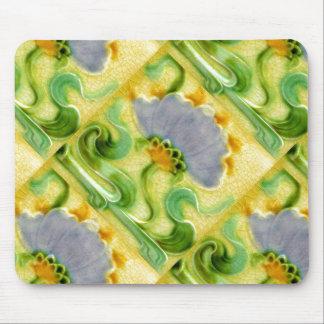 Vintage Floral Crazed Tile Design Art Nouveau Mouse Pad