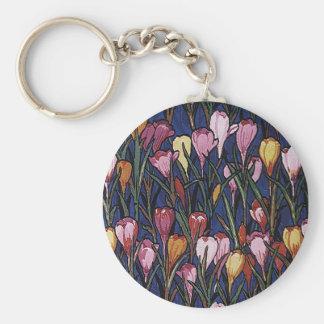 Vintage Floral, Crocus Flowers in a Garden Pattern Keychains