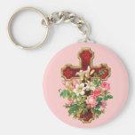 Vintage Floral Cross Basic Round Button Keychain