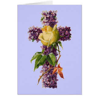 Vintage Floral Cross Card