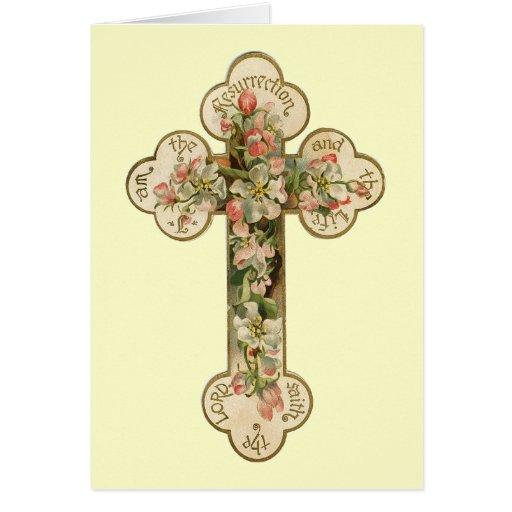 Vintage Floral Cross Greeting Card