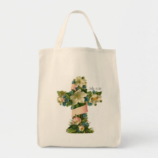 Vintage Floral Cross illustration  tote bag