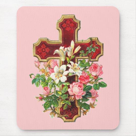 Vintage Floral Cross Mouse Pad