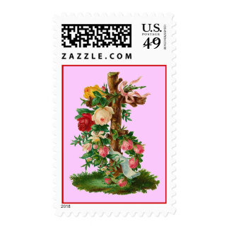 Vintage Floral Cross Postage