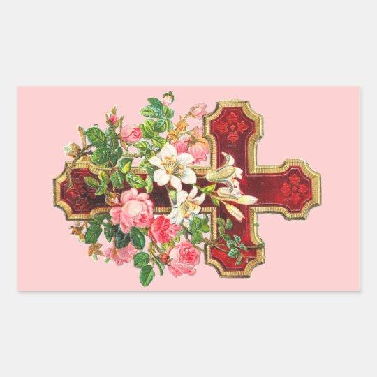Vintage Floral Cross Rectangular Sticker