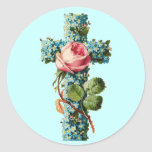 Vintage Floral Cross Round Stickers