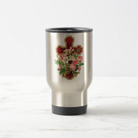Vintage Floral Cross Travel Mug