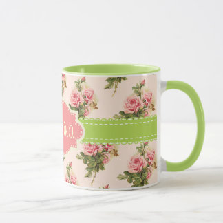 Vintage Floral Custom Name Pink Green Mug