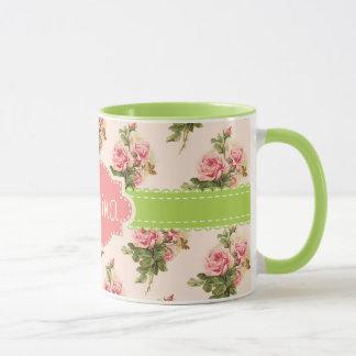 Vintage Floral Custom Name Pink Green Mug