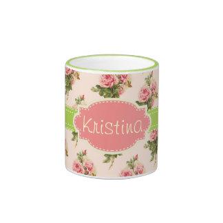 Vintage Floral Custom Name Pink Green Ringer Coffee Mug