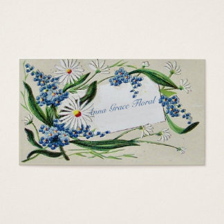 Vintage Floral, Daisies and Bluebells, Custom Business Card