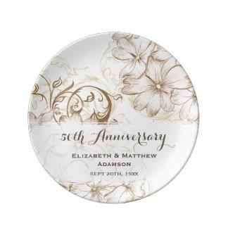 Vintage Floral Damask Anniversary Porcelain Plate