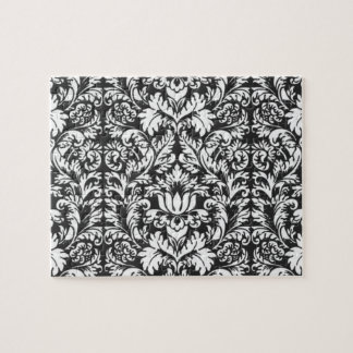 Vintage Floral Damask Black and White Jigsaw Puzzle