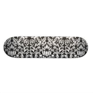 Vintage Floral Damask Black and White Skateboard