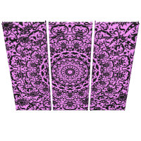 Vintage Floral Damask Purple Black Stylish Canvas Print