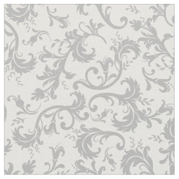 Beach Themed Vintage Floral Damask White Gray Pattern Fabric