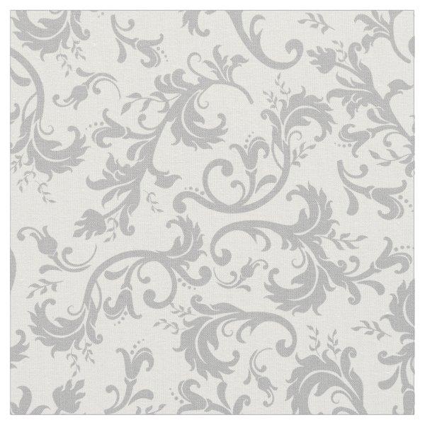 Vintage Floral Damask White Gray Pattern Fabric