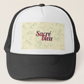 Vintage Floral Dark Cross Sacre Bleu French Funny Trucker Hat