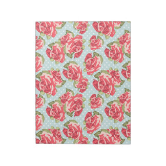 Vintage floral de los rosas elegantes lamentables  bloc de papel