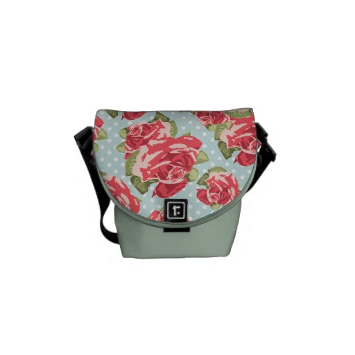 Vintage floral de los rosas elegantes lamentables  bolsas messenger