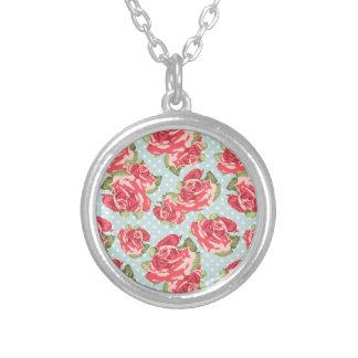 Vintage floral de los rosas elegantes lamentables colgante redondo