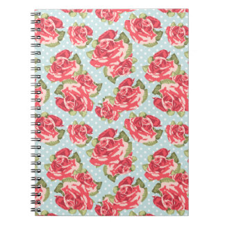 Vintage floral de los rosas elegantes lamentables libreta espiral