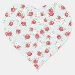 Vintage floral de los rosas elegantes lamentables colcomanias corazon personalizadas