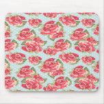 Vintage floral de los rosas elegantes lamentables  tapete de raton