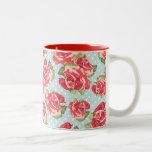 Vintage floral de los rosas elegantes lamentables  tazas