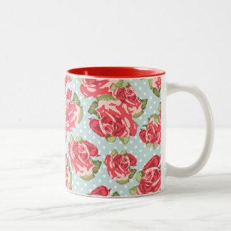 Vintage floral de los rosas elegantes lamentables taza de dos tonos