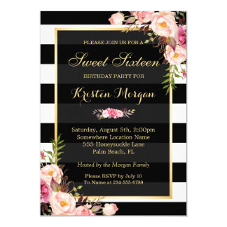 Vintage Floral Decor for Sweet Sixteen Party Card