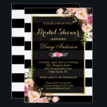 """Vintage Floral Decor for Wedding Bridal Shower Card<br><div class=""""desc"""">Wedding Bridal Shower - Elegant Vintage Watercolor Flowers Decor in Black White Stripes with Gold Frame - A Perfect Design for you. (1) For further customization, please click the &quot;customize further&quot; link and use our design tool to modify this template. (2) If you prefer Thicker papers / Matte Finish, you...</div>"""