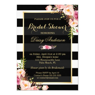 Vintage Floral Decor for Wedding Bridal Shower 5x7 Paper Invitation Card