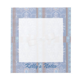 Vintage Floral Decor Wallpaper Pattern Blue Brown Note Pad