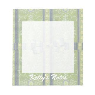 Vintage Floral Decor Wallpaper Pattern Green Blue Notepad