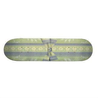 Vintage Floral Decor Wallpaper Pattern Green Blue Skateboard Decks